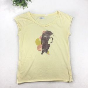 Ben Sherman Pale Yellow Tee Print of Girl on Front